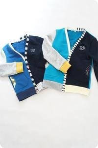 ボーイズライクなカラフルカーディガンsize110&120 - 親子お揃いコーデ服omusubi-five(オムスビファイブ)