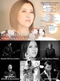 ERKA MATSUO SEXTET Birthday Bash at Jazz at Kitano on January 24, 2018 - ERIKA World Tour Schedule