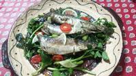 魚介の前菜(自家製オイルサーディン、エビのレモンマリネ) - 生保レディのリアル ~元生保。女性の労働という視点で書いてます
