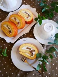 栗渋皮煮のロールケーキ♪ - This is delicious !!