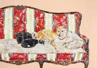 ソファーと犬と猫 - ちぎり絵日記