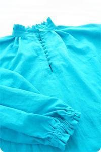 水色のフリルブラウスを作りましたよ♡クラシカルな雰囲気が可愛いです。 - ハンドメイド親子お揃い服omusubi-five(オムスビファイブ)