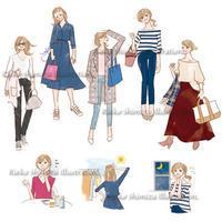 服のコーデイラスト - 女性誌を中心に活動するイラストレーター ★★清水利江子の仕事ブログ