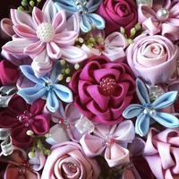 母に、と「つまみ細工のお花」をいただきました - 羊毛フェルトでプチ・ボヌール