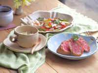 いちごトーストの朝ごはん。 - 陶器通販・益子焼 雑貨手作り陶器のサイトショップ 木のねのブログ