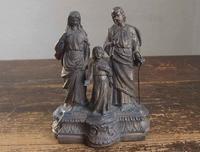 聖家族像  幼子イエス ヨセフ 聖母マリア 高14.5cm  /F006 - Glicinia 古道具店