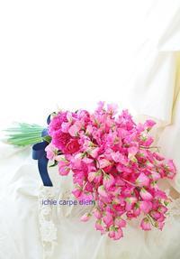 アームブーケ ザ・リッツカールトン東京様へプレシューティングに スイートピーのフーシャピンクで - 一会 ウエディングの花