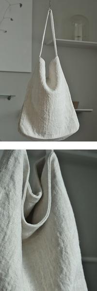 linen   reversible  one  shoulder  bag - 刺繍 - womb_a_closet
