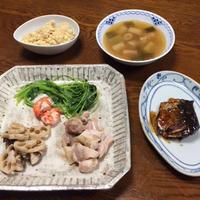 白和えの豆腐で、蒸し野菜を食べました。 - おひとりさまの「夕ごはん」