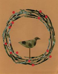 リースと小鳥のコラージュ - 手製本クリエイター&切り絵コラージュ作家yukai の暮らしを愉しむヒント