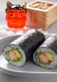 サーモンフライ巻き寿司 ~節分の恵方巻き~ - cafeごはん。ときどきおやつ