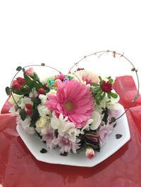 ハートのフラワーケーキ♡ - **おやつのお花*   きれい 可愛い いとおしいをデザインしましょう♪