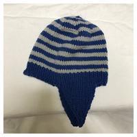 帽子:フレンチメリノ 耳付き帽子(3)★編み上がり - よなよな編み物