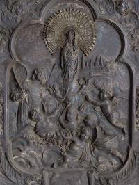 聖ピラール 柱上の聖母 金属レリーフ 47cm×35cm  /F072 - Glicinia 古道具店