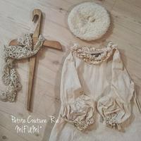 小さなパフの刺繍ワンピース - MIFUMI*  Petite Couture Rie