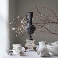 フランスアンティーク カメオの花瓶 大理石 - clair de lune
