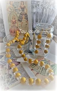 ミモザ色のネックレス&イヤリング - Bijoux  du  Bonheur ~ビジュー ドゥ ボヌール~