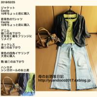 若草色のTシャツと黄色のイヤリング - 母のお洒落日記