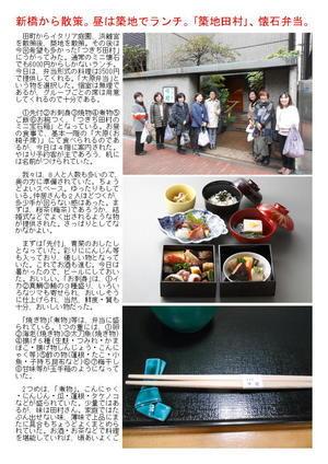 新橋から散策。昼は築地でランチ。「築地田村」、懐石弁当。