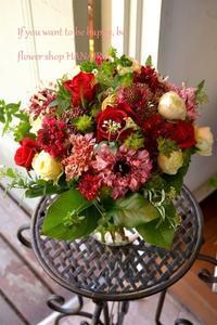 発表会のお花に♪赤色MIXで花束。 - 花色~あなたの好きなお花屋さんになりたい~