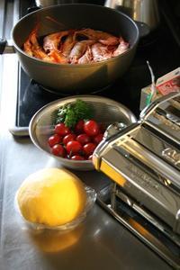 週末ご飯(海老トマトクリームパスタ) - パンとお菓子と子供の笑顔