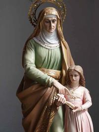 聖アンナとマリア像    マリアとその母 聖母像  /E985 - Glicinia 古道具店