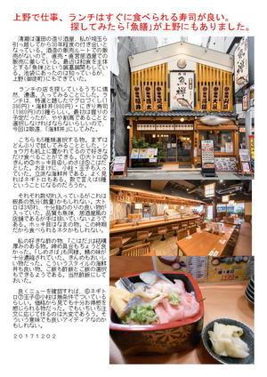 上野で仕事、ランチはすぐに食べられる寿司が良い。探してみたら「魚禅」が上野にもありました。
