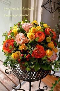 オープンのお祝いに♪フラワーアレンジメント。 - 花色~あなたの好きなお花屋さんになりたい~