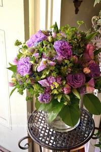 お誕生日のお祝いに♪パープルmixで花束。 - 花色~あなたの好きなお花屋さんになりたい~