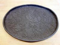陶芸クラブ★黒土でレース紋オーバル皿★陶板4枚 - 月夜飛行船