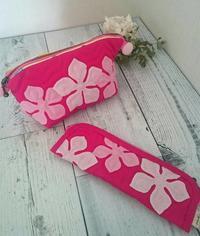 ペンケースとワイヤーポーチ KMさん作品 - ほっと一息・・~Sakura's Hawaiian QuiltⅡ