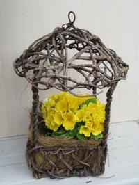 鳥除けになった鳥かごハンギング - bowerbird garden ~私はニワシドリ~