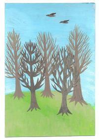 もうすぐ春の公園イラスト - 手製本クリエイター&切り絵コラージュ作家yukai の暮らしを愉しむヒント