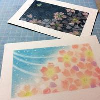 桜の花、2パターンを描きました - アトリエ絵くぼの創作日誌