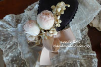 春の陽射しのような柔らか色のお花のヘッドドレス♪ばらとすみれ - 愛知 豊橋 布花アクセサリーCendrillon