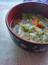 そば米雑炊の朝ごはん - 料理研究家ブログ行長万里  日本全国 美味しい話