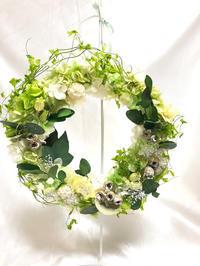 幸せの輪☆グリーンリースを作って - プリザーブドフラワーアレンジメント制作日記