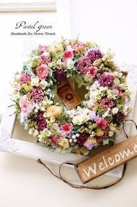 「 お花畑」ドライフラワーリース - Pastel green - Flower diary