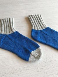 靴下 : コットンストレッチ、青と灰 - bobbi*ncase