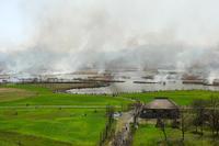福島潟のヨシ焼 - デジタルで見ていた風景