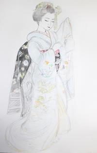 祇園舞妓さん モデル あす佳ちゃん 大きさB2 - 黒川雅子のデッサン  BLOG版