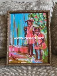 1才ちがいの姉妹の絵 - ジャマイカブログ Ricoのスケッチ・ダイアリ