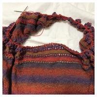 ショール:ユウヤケのソラ Sunflower Shawlette(4) - よなよな編み物