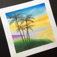ヤシの木と夕空と海 - アトリエ絵くぼの創作日誌