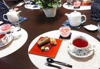桜スイーツを堪能♪@池上編み物カフェ - 空色テーブル  編み物レッスン