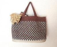 籠目編みのバッグ - 空色テーブル  編み物レッスン