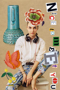 COLLAGE CARD #92 : NIcE tO mEEt YOu「ハジメマシテ」 - maki+saegusa