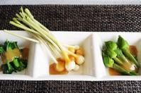 ■季節の野趣盛り 【酢味噌和え3品と辛子酢味噌和え1品】 ヘルシー!珍味です♪ - 「料理と趣味の部屋」
