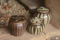 流釉 蓋壺 - やきものをつくろう  生畑皿山窯
