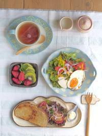 カンパーニュサンドの朝ごはん - 陶器通販・益子焼 雑貨手作り陶器のサイトショップ 木のねのブログ